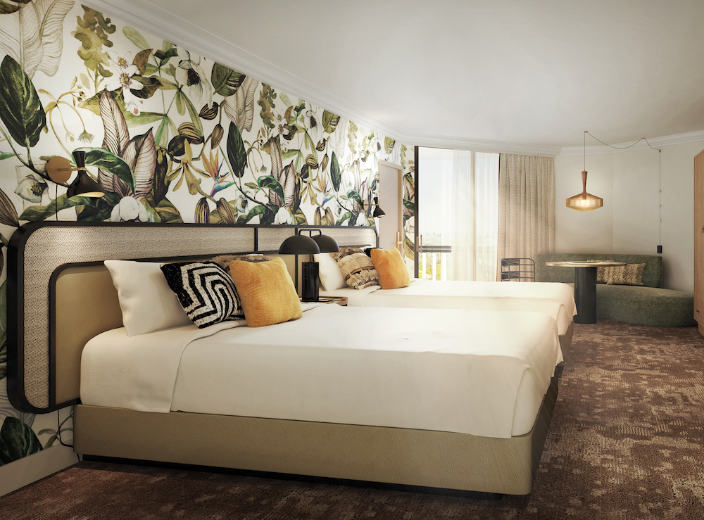 Hotel Designs | Floral feature wall in suite inside golf resort