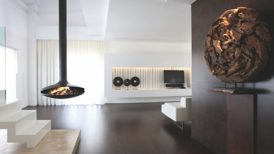 Modern fireplace in contemporary setting