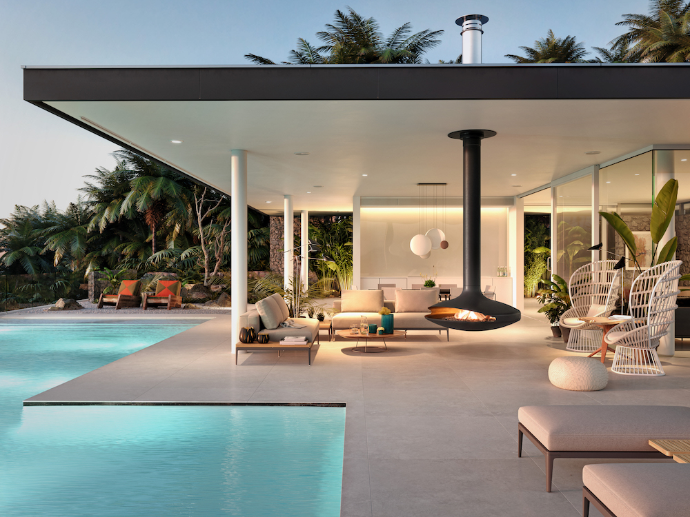 Contemporary villa with masterpiece fireplace