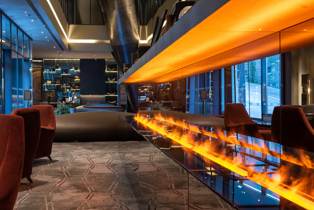 Hotel design | An installation of fire inside lobby of new hotel in Porto