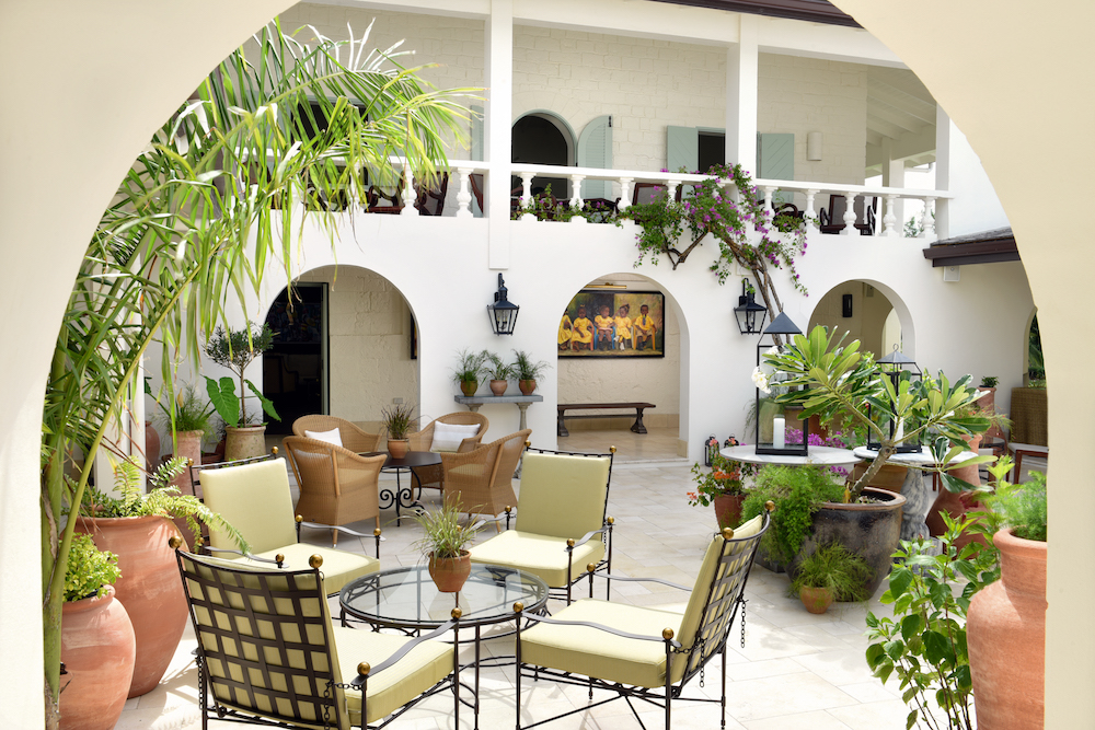 A white open courtyard