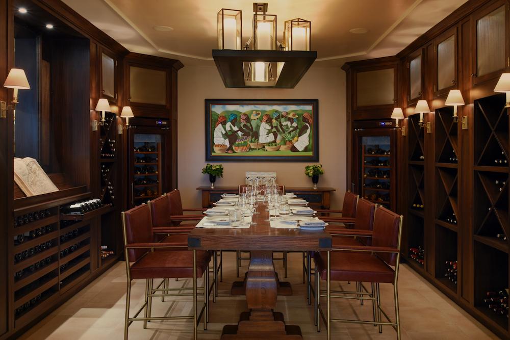 A wine tasting room inside The Estate House