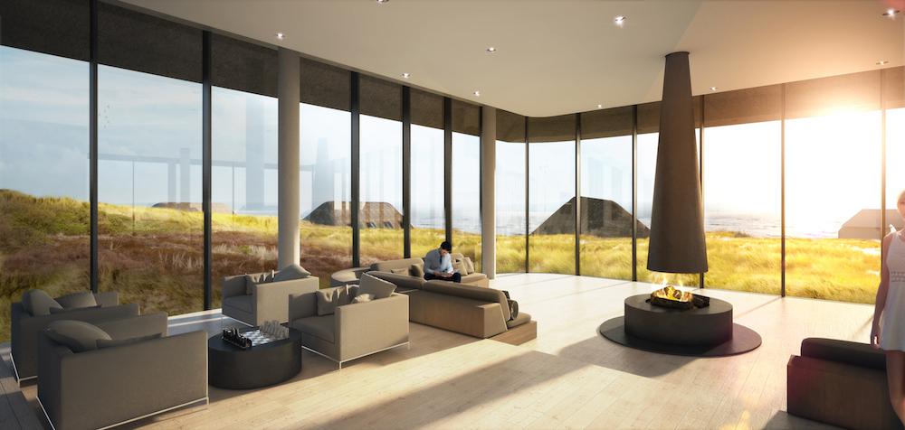 Render of luxury lounge inside Lanserhof Sylt