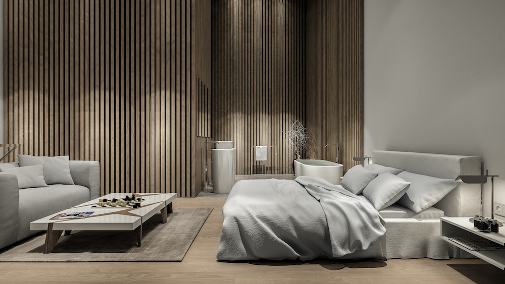 Render of luxury bedroom inside Lanserhof Sylt