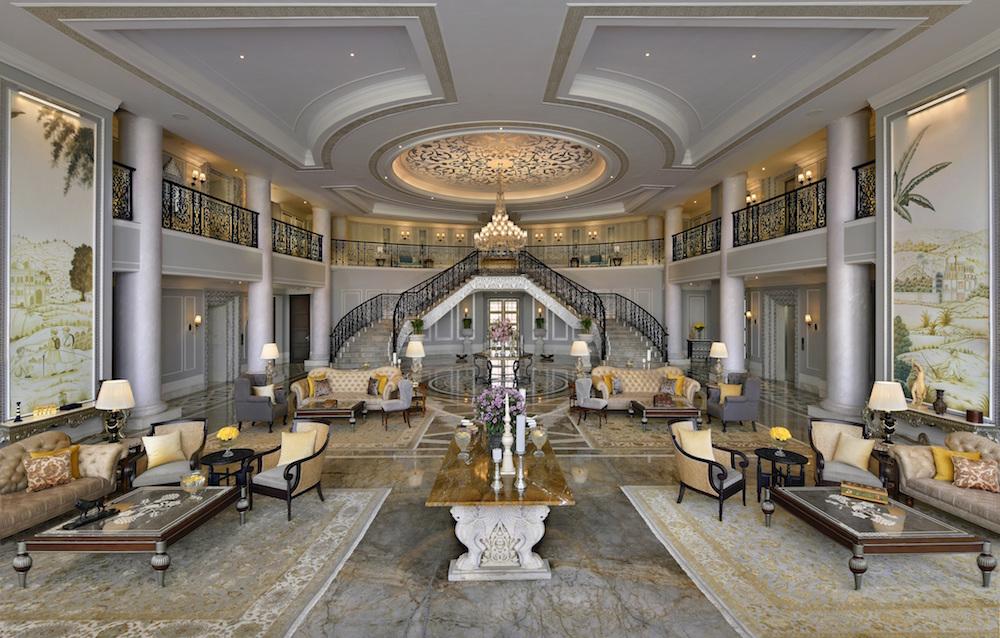 Luxury lobby, Raffles Udaipur, wiht high ceilings and palatial decor