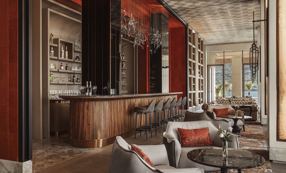A modern luxury bar inside One&Only Portonovi