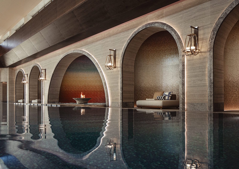 Hotel Design | Arches inside a luxury spa and pool area