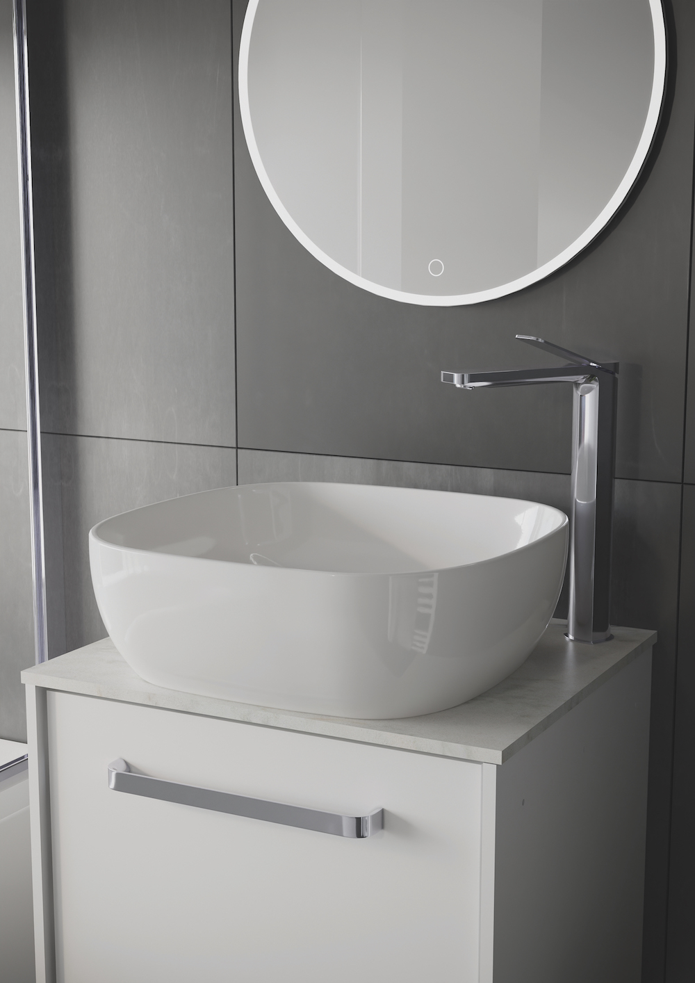 Hotel design | A grey modern bathroom with white ceramic bath and washbasin