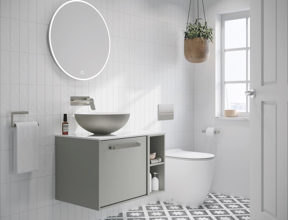 Calm neutral colours in modern bathroom