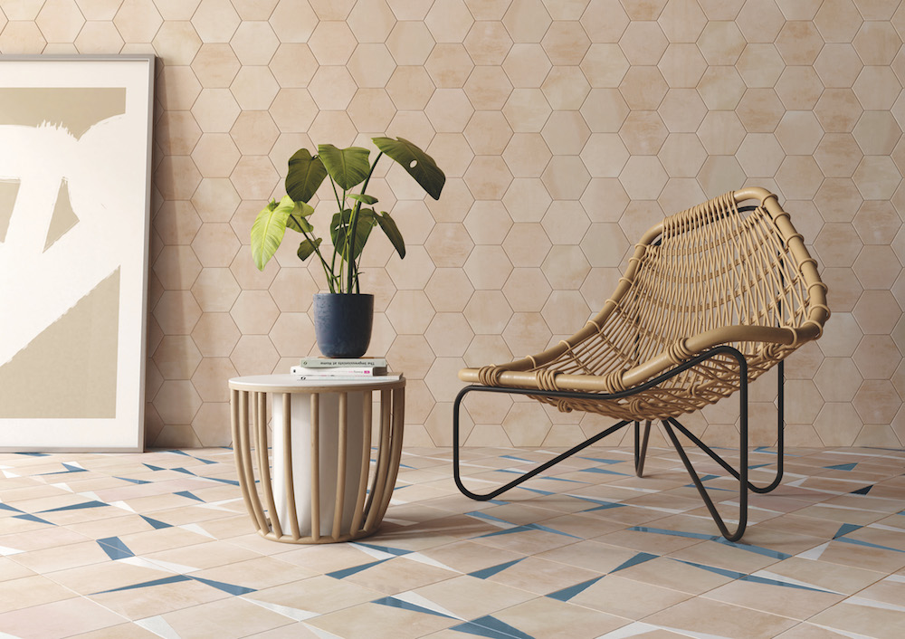 Hotel Designs | Angular tile patterns with rattan armchair