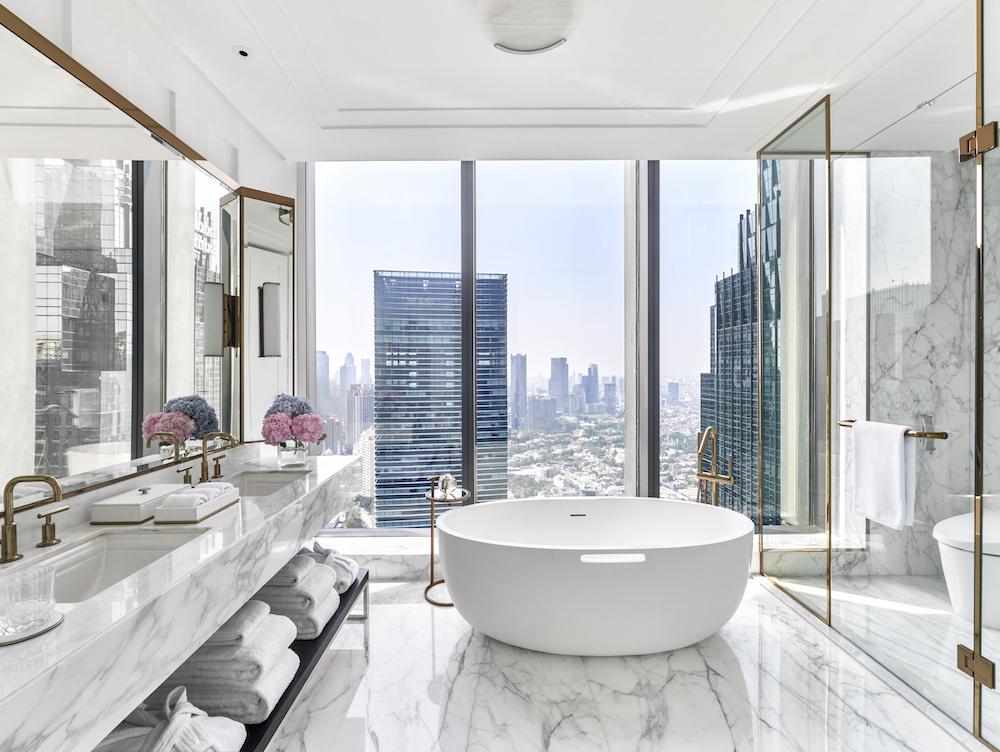 Luxury marble bathroom inside Langham, Jakarta
