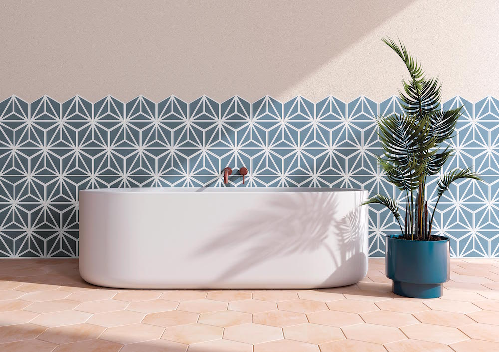Hotel Designs | tonal tiles with geometric patterns in bathroom