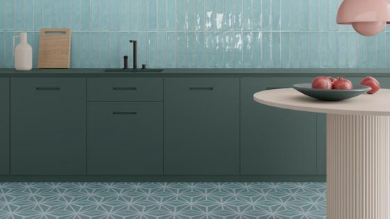 Hotel Designs | A mint and soft pink tonal tiles in the kitchen