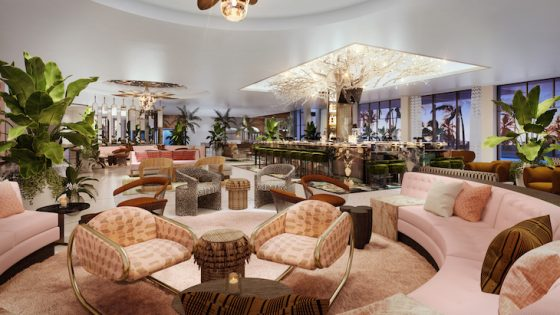 A flamboyant interior design scheme inside the lobby of golf resort in Palm Springs